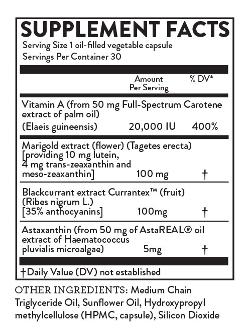 Nutrition label for Hallelujah Diet Total Eye Health Supplement