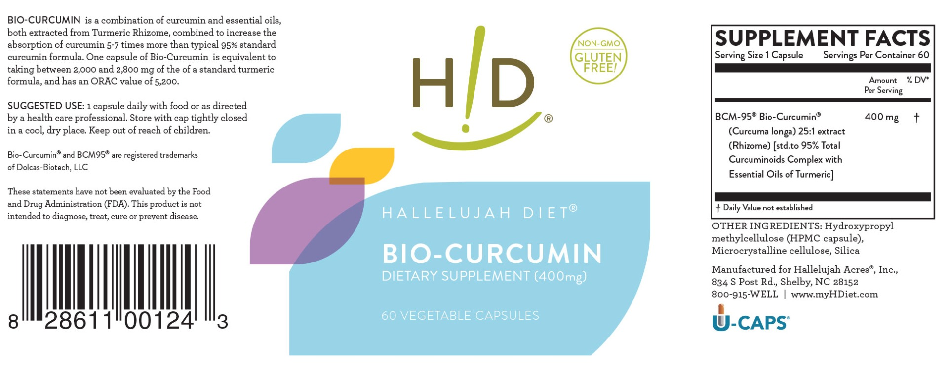 Hallelujah Diet BioCurcumin 400mg Label