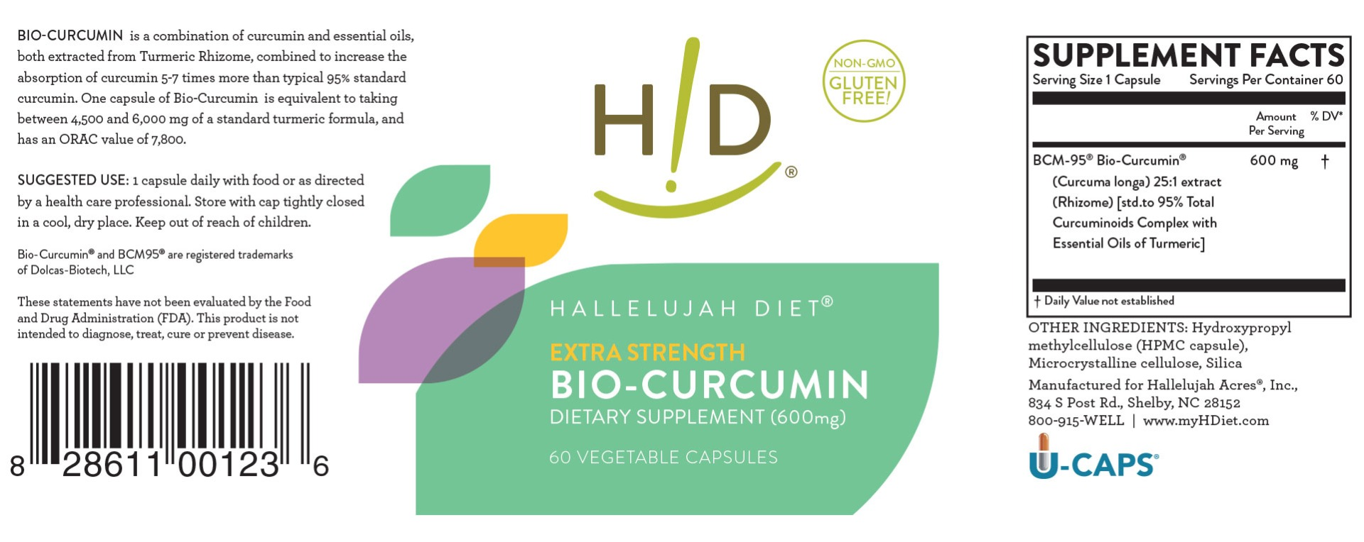 Hallelujah Diet BioCurcumin 600mg Label