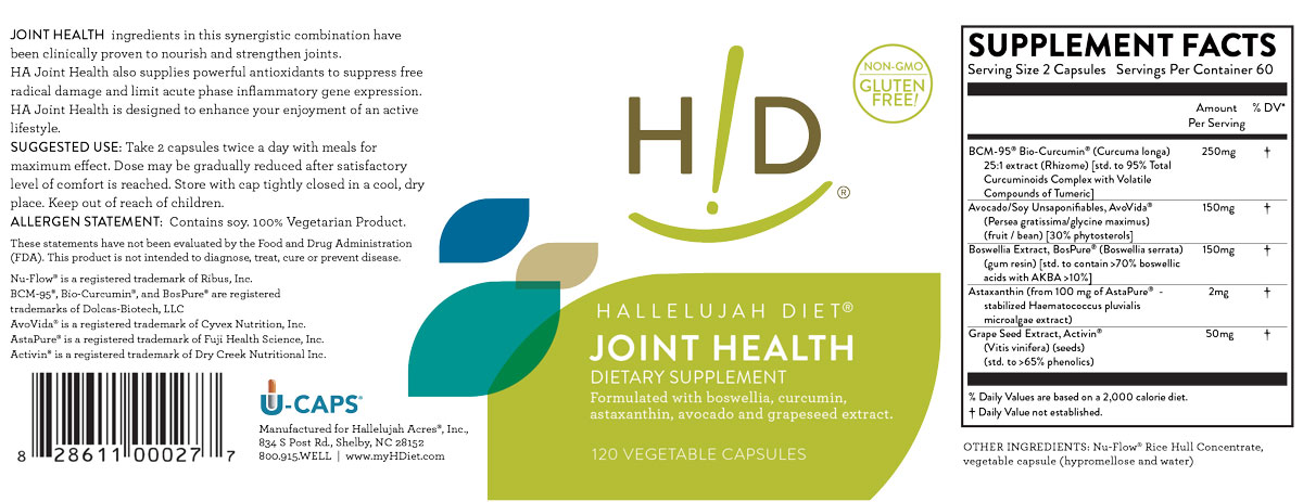 Hallelujah Diet Joint Health Label