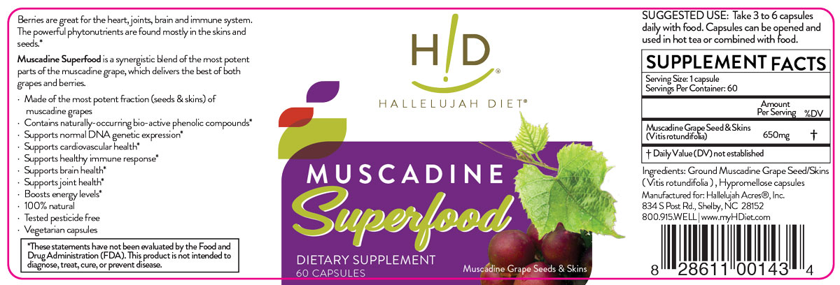 Muscadine Superfood Supplement label