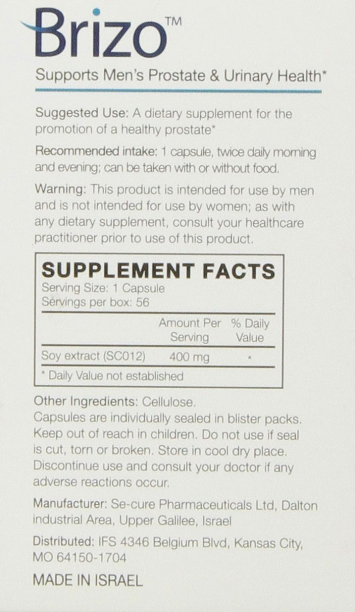 Brizo Nutritional Label